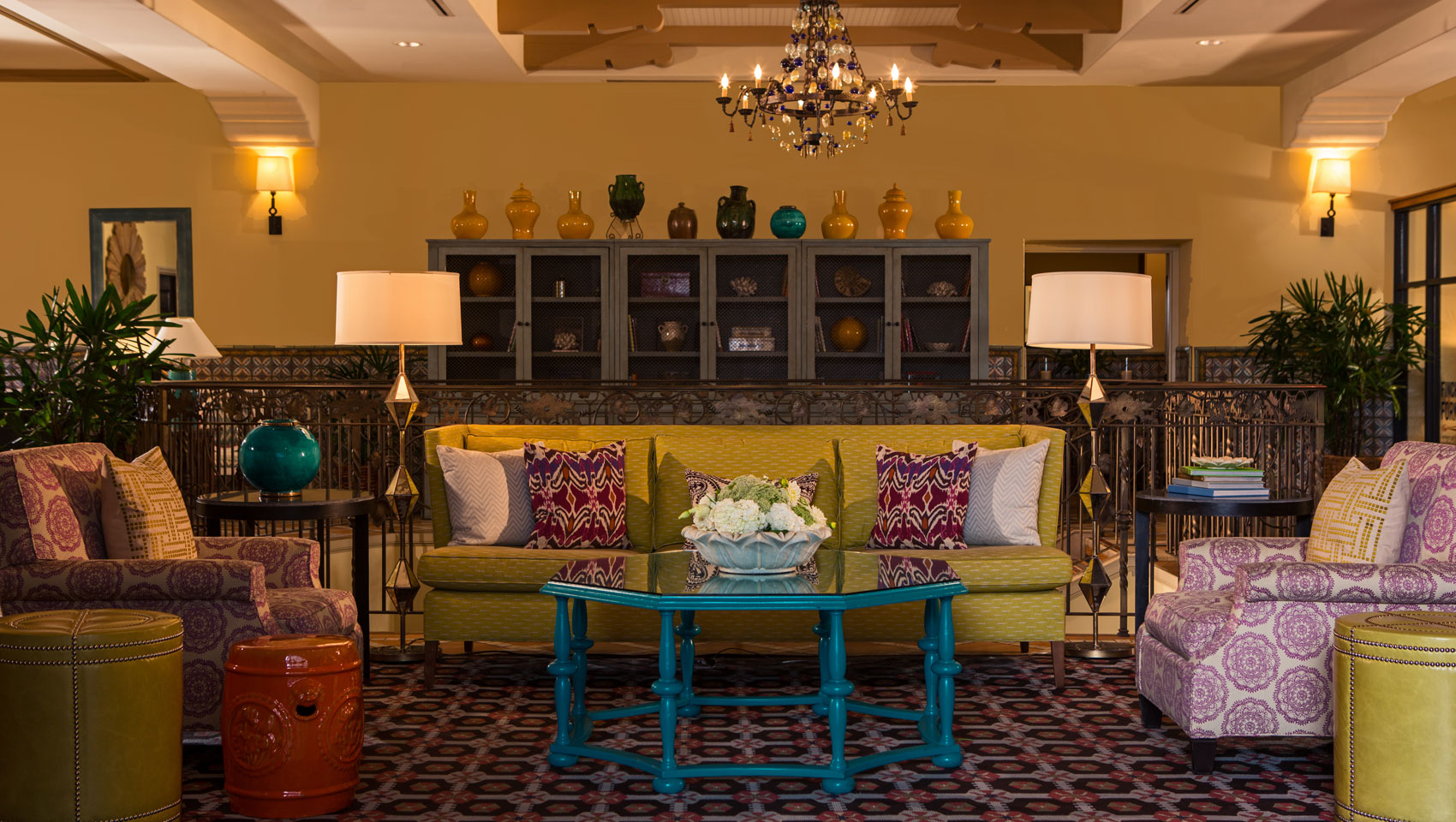 Hotel Lobby With Couches And Bookshelves