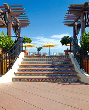rooftop steps to pool Santa Barbara boutique
